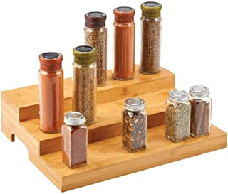 mDesign présentoir à épices à 3 niveaux – étagère à épices pratique en bambou – organiseur de cuisine pratique pour épice...