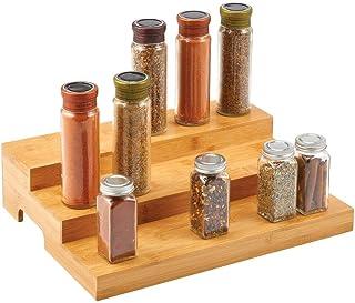 mDesign présentoir à épices à 3 niveaux – étagère à épices pratique en bambou – organiseur de cuisine pratique pour épices...