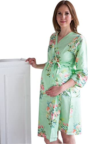 wrap around robe delivery baby shower gift feeding Floral KNEE Length child birth BACK OPEN Mint maternity robe pregnancy and labor
