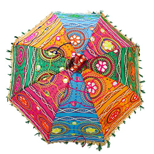 Bohemian Handmade Design, Cotton Multi Color Embrodiery Sun Umbrella Parasol 24 Inches (PINK, FOREST GREEN, CYAN, ORANGE)