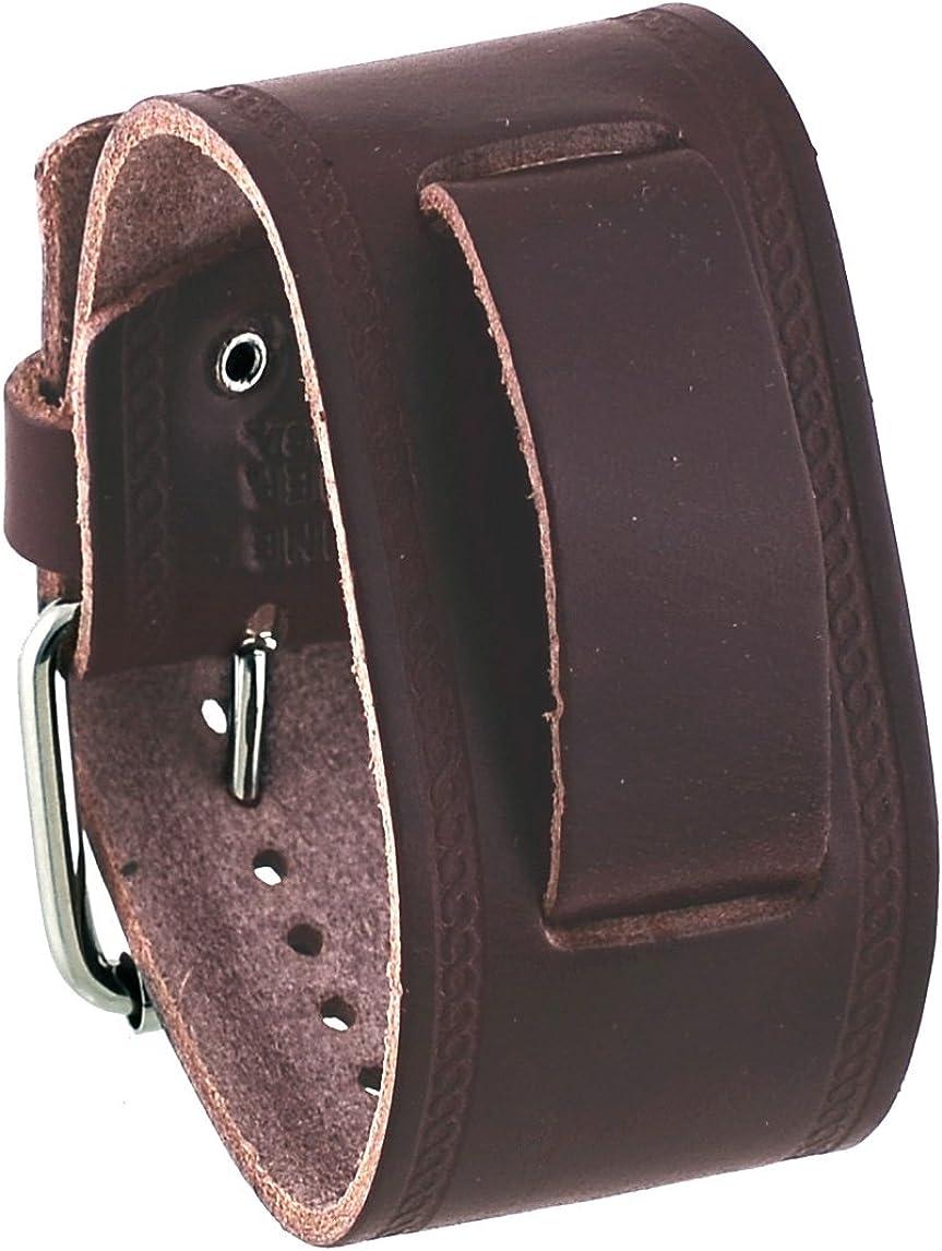 Nemesis #HST-BB Unisex Max 49% OFF Sacramento Mall Dark Brown Wide Leather Watch Wrist Cuff