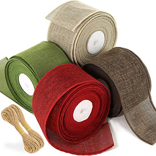 JACK CHLOE 32Yards 2-1/2'' Christmas Ribbon Wired, Burlap Ribbon Rolls in Spring Green Scarlet Dark Brown Khaki, Prefect Christmas Ribbin for Decor Gift Wrapping Wedding Floral Bows Christmas Tree