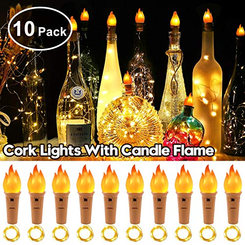 StillCool 10 Packs 20 LED Wine Bottle Lights Copper Wire Fairy String Light Warm White Bottle Stopper Atmosphere Lamp for Christmas Xmas Holiday Festival DIY Home Party Decoration (Warm White)