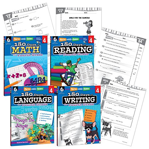 180 Days of Practice - 4th Grade Workbook Set - Includes 4 Assorted Fourth Grade Workbooks for Daily Practice in Reading, Math, Writing, and Grammar Skills