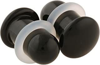 Pair of Black Glass Single Flared Simple Plugs
