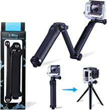 Three 3-Way Handheld Selfie Stick, Foldable Extendable Grip Arm Mount Holder Monopod for GoPro Hero Cameras 6/5/5 Session/4 Session/4/3+/3/2/1 and Action Cameras with Long Handle Screw