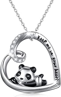 925 Sterling Silver Cute Animal Heart Pendant Necklace with Words Engraved, Chain 18 inch Women Girls Birthday Gift Jewelry