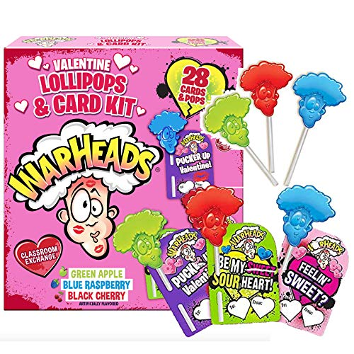 Valentines Day Warhead Lollipop and Card Classroom Exchange Kit Bulk Flavored Candy Birthday Party Favor Individually Wrapped With Assorted Flavors 28 Count