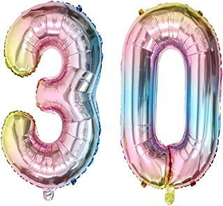 40inch Number 30 Balloons 30th Birthday Decoration Rainbow Color Jumbo Foil Mylar Balloon for 30 Birthday Party Decoration Supplies (40inch Number 30)