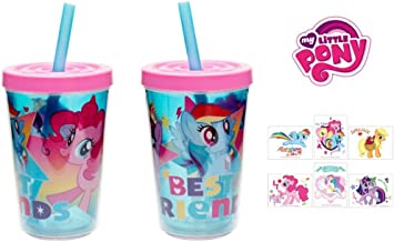 My Little Pony 100% BPA Free 2 pcs. Leak-proof Tumbler with straw and 6 pcs. temporary tattoo by Little Boogers