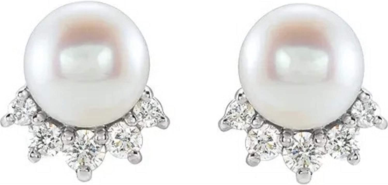 14K White Freshwater Cultured Pearl & .08 CTW Diamond Earrings