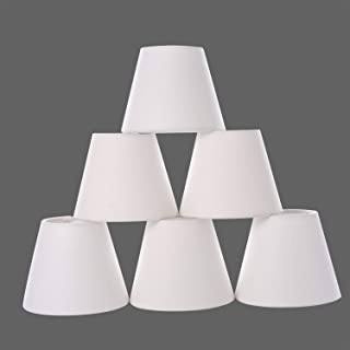 Chandelier Shades,Small lamp Shade Hardback, Clip on Shades with White Linen Dia 3.5