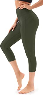 Persit Women's High Waist Yoga Pants with Pockets, Elastic Capri Leggings for Women, Tummy Control Workout Running Leggings