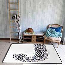 Floor Bath Rug Letter J Soccer Balls in The Form of a Letter Futboll Alphabet Theme Teamplay Sports Personality W47 xL71 Black and White