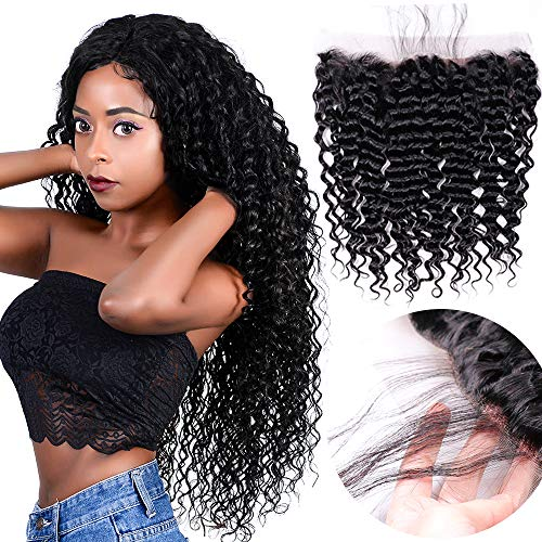"""Brazilian Loose Deep Wave frontals 20"""" 13x4 Curly Weave Ear To Ear Lace Frontal With Baby Hair Extensions Nature Color Best Real Human Hair"""