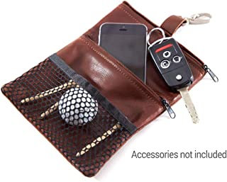 GV Image Collection Zip Golf Valuables Pouch w/Mesh-Brandy Leather-Two Deep Pockets: Outside Mesh Pouch and Metal Hook Attachmentl-7 1/2