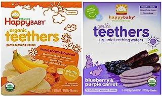Happy Baby Organic Teethers 2 Flavor Bundle: (1) Sweet Potato & Banana Teething Wafers, and (1) Blueberry & Purple Carrot ...