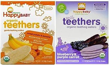 Happy Baby Organic Teethers 2 Flavor Bundle: (1) Sweet Potato & Banana Teething Wafers, and (1) Blueberry & Purple Carrot Teething Wafers, 1.7 Oz