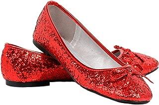 womens red glitter ballet flats