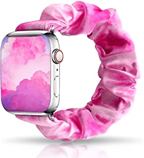 UooMoo Tie dye Scrunchie Elastic Band Compatible for Apple Watch Band 38 40mm,Tie-dye Elastic Hair Wristbands Replacement ...