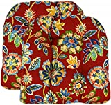 RSH Décor Set of 2 Indoor Outdoor Wicker Tufted U - Shape Chair Cushions - Daelyn Cherry Red Yellow Blue Green Floral (22' x 22')