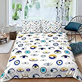 Winter 3D Duvet Cover Bedding Duvet Cover Set 3D Print Simple Care Microfiber 230 cm x 220 cm Colorful Abstract Eye Lashes Zip Anti-Allergic Soft Smooth Duvet Cover Pillowcases