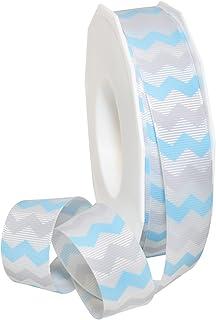 "Morex Ribbon 97122/25-602 Polyester Chevron Natale Craft Supplies, 7/8"" by 25 yd, Light Blue/Grey"