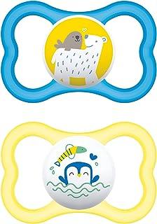 MAM Air Chupete de silicona, azul, de 6 meses en adelante, 2 unidades