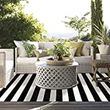 LEEVAN Black and White Striped Area Rug 4 x 6 ft Outdoor Patio Rug Woven Washable Farmhouse Collection Runner Rugs Cotton Floor Carpet for Indoor Outdoor/Courtyard/Living Room/Bedroom