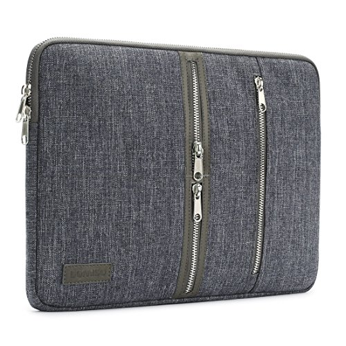 DOMISO 15.6 Pollici Laptop Sleeve Custodia Borsa Ventiquattrore Cerniera Stile Casual con Notebook Sleeve Case, Grigio Scuro