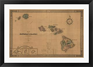 Hawaiian Islands Map by Lantern Press Framed Art Print Wall Picture, Black Flat Frame, 42 x 30 inches