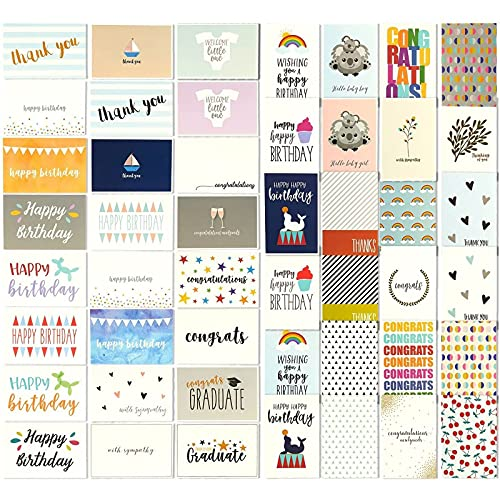 Grußkartenfür alle Gelegenheiten von Best Paper Greetings (48 Stück) –Englische Texte, z. B. Happy Birthday, Thank You, Congrattiolations - Innen blanko - Umschläge enthalten–10 cm x 15 cm