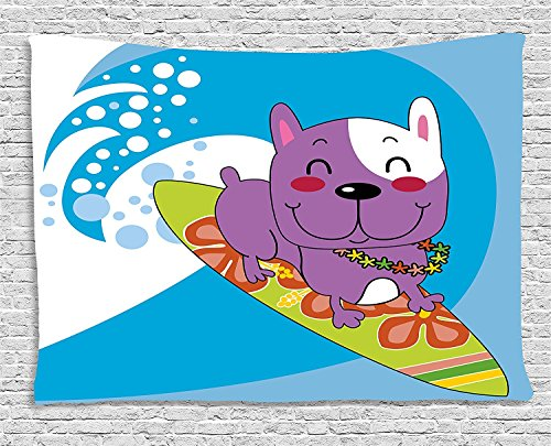 XHFITCLtd Ride The Wave Tapestry, Cute French Bulldog Surfing and Smiling Happy Adventure Exotic Dog Cartoon, Wall Hanging for Bedroom Living Room Dorm, 80 W X 60 L Inches, Multicolor