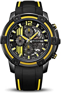 MEGIR Men's Analogue Sport Quartz Wrist Watches with Soft Silicone Strap Chronograph Luminous Auto Calendar Waterproof Function 2097