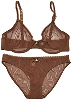 Women's See Through Bras and Panties Sets Sheer Unlined Lace Ultra Thin Mesh Bra