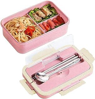 Trigo natural Juego de fiambreras Set de 3 compartimentos Fiambreras Recipientes para alimentos Fugas a prueba de fiambres para adultos y ni/ños incluye tenedor y cuchara
