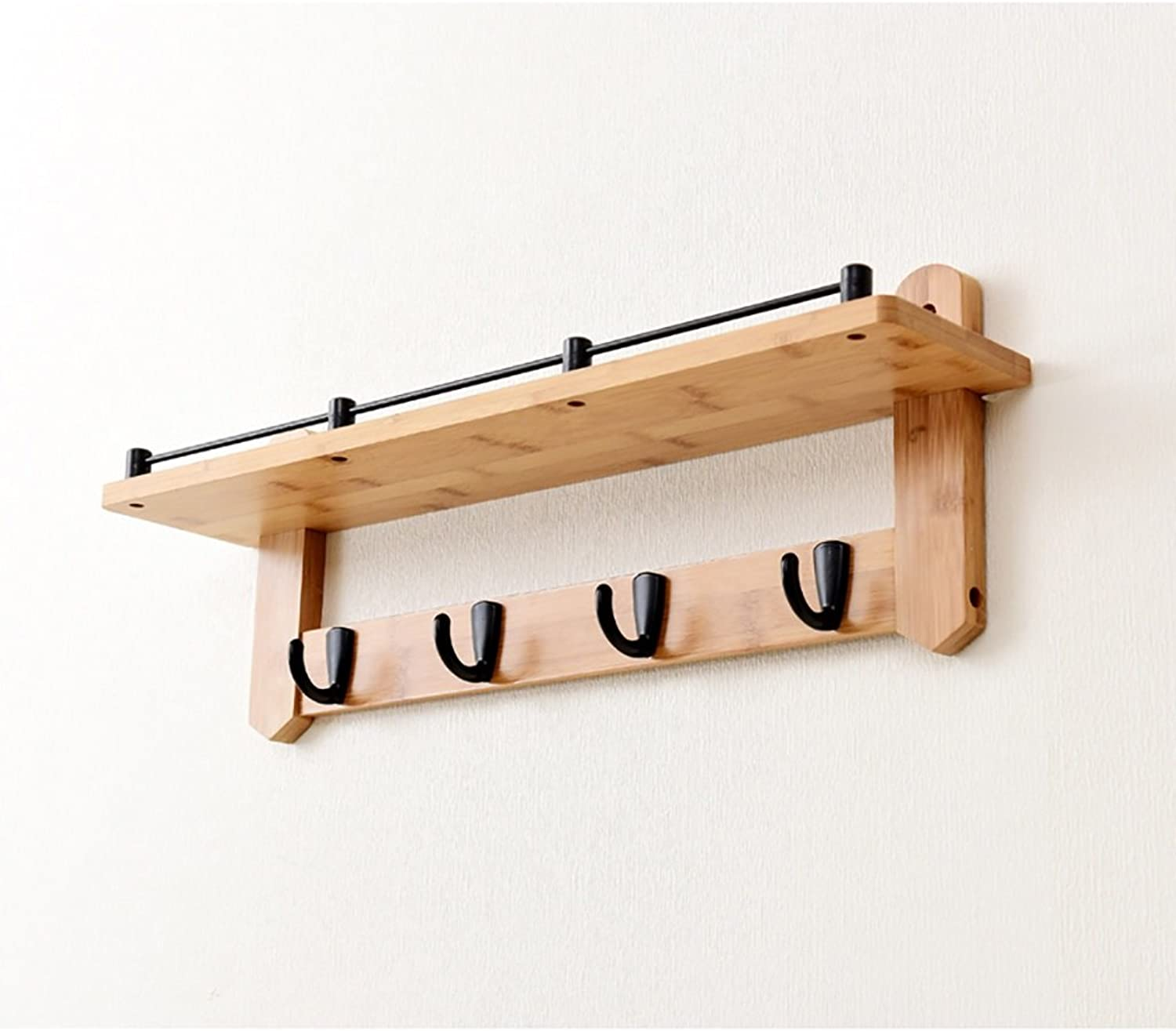 LXLA- Shelf Hangers Coat Rack Hook Up Wall-mounted Wood Bamboo (Available 4,5,6 Hooks, 56 66 76  20 cm) ( color   Black hook , Size   4 hooks )