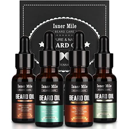 4 Pack Beard Oil Set Leave in Conditioner, Cedarwood, Sandalwood, Sage, Sweet Orange for Men Mustaches Growth, Soften, Moisturizing, Strength, Stocking Stuffers Gifts for Him Man Dad Father Boyfriend