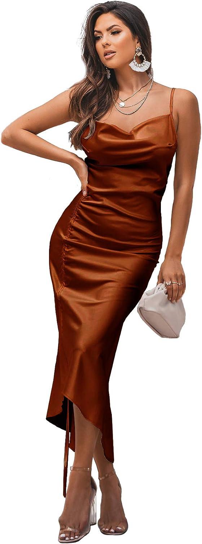 LYANER Women's Satin Spaghetti Straps Cowl Neck Sexy Ruch Cocktail Midi Dresses