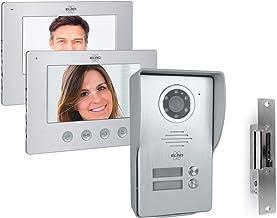 ELRO 2 familie-video-deurintercom met 2 x 7 inch binnenmonitor & deuropener, 4-draads buitenkant met camera
