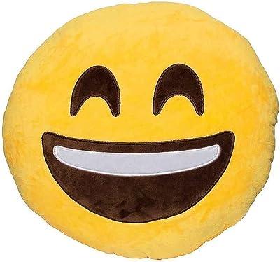Amazon.com: Emoji Smiley Emoticon Yellow Round Cushion ...