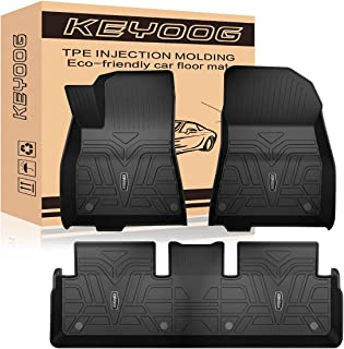 KEYOOG Car Floor Mats Black TPE Special All-Weather Automotive Mat Interior Accessories Includes 1st and 2nd Row, Compatible For 2017 2018 2019 2020 2021 Tesla Model 3 ( left hand ), 3 Pieces In Total