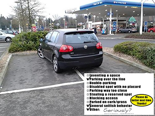 YOU PARKED LIKE A MORON 50 Note Pack by Witty Yeti. Its Time to Punish Parking Lot Idiots. Tick The Boxes on The Back to List Their Sins & Get Justice! Hilarious Prank, Gag Gift, Stocking Stuffer. Photo #5
