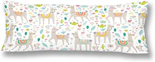 InterestPrint Funny Hippie Llama Cactus and Flower Pillow Covers Pillowcase with Zipper 21x60 Twin Sides, Rectangle Body Pillow Case Protector for Home Couch Sofa Bedding Decorative