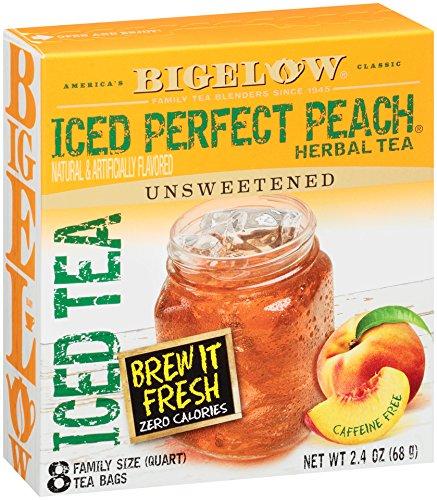 Bigelow Perfect Peach Quart size Iced Herbal Tea Bags, 8 Count Box (Pack of 6), 48 Caffeine Free Tea Bags Total.