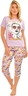 Habiba Cotton Round-Neck Printed T-Shirt with Cropped Leggings Pajama Set for Women