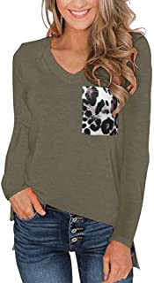 Women's Tops Long Sleeve Lace Trim O-Neck A-Line Tunic Tops, Leopard Color Block Tunic Comfy Stripe T Shirt