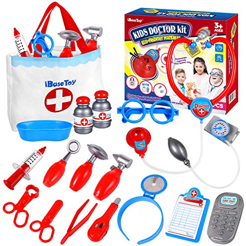 iBaseToy Doctor Kit for Kids and Toddlers  18 Pieces Kids Doctor Playset with Storage Bag amp Electronic Stethoscope Doctor Kit Educational Doctor Gifts for Kids Toddlers Doctor Games