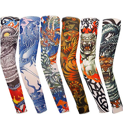 Vordas 6 Stück Tattoo Ärmel Unisex Nylon Tattoo Armstrumpf Sleeve Temporäre Tattoos Arm Tätowierung Armstrümpfe, Ideal für Karneval Fasching Party (D)
