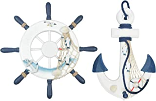 """Meching Nautical Decor 2 Pack 13"""" Wooden Ship Wheel and Wood Anchor with Rope.."""